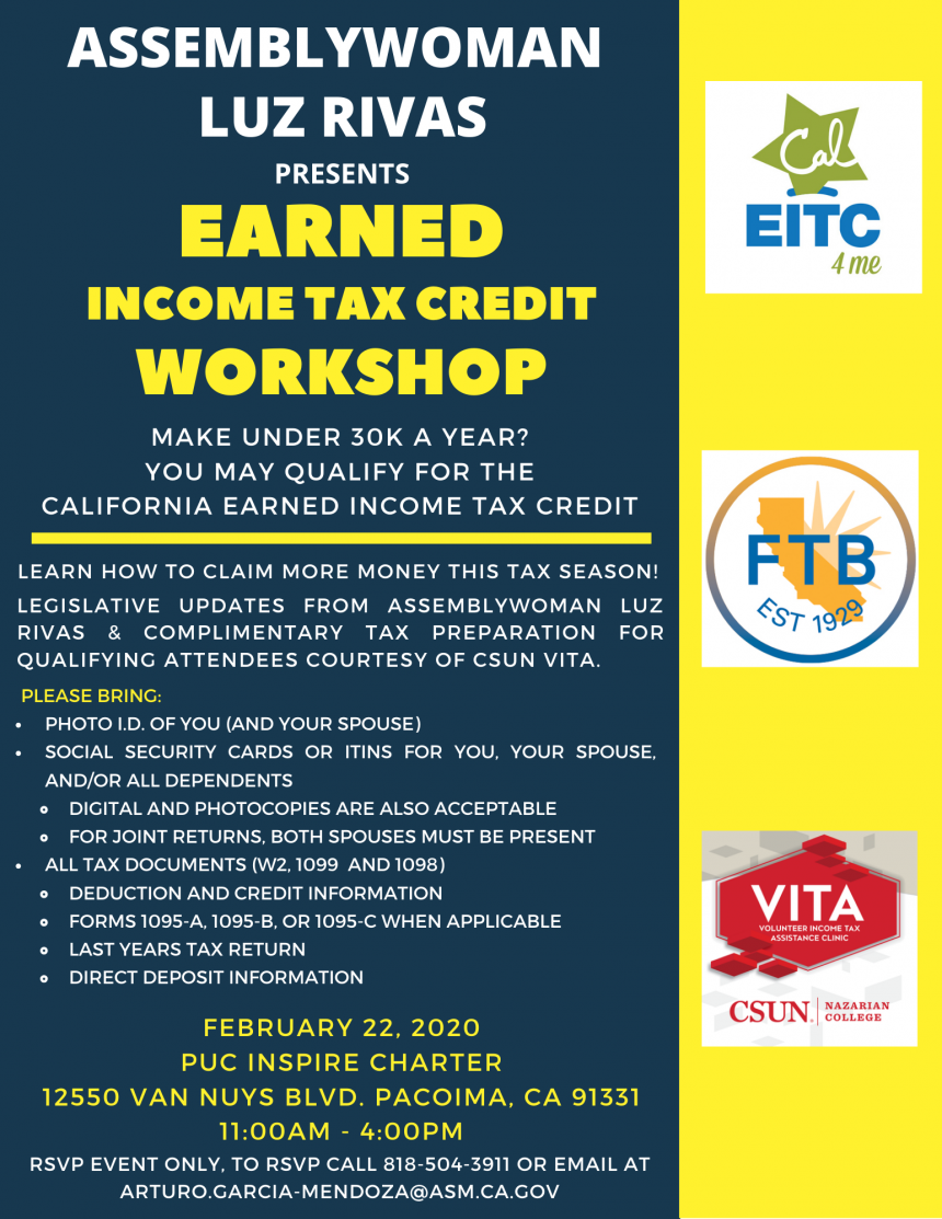 Assemblywoman Luz Rivas Presents Earned Income Tax Credit Workshop