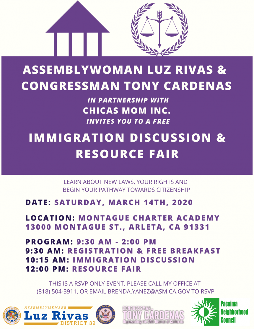 Assemblywoman Luz Rivas Hosts Free Immigration Discussion and Resource Fair