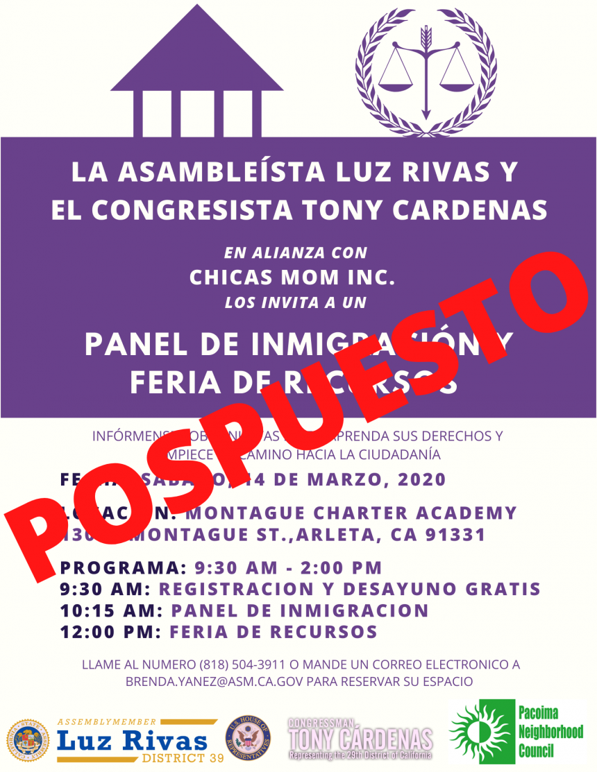 Postponed - Assemblywoman Luz Rivas Hosts Free Immigration Discussion and Resource Fair_Spanish